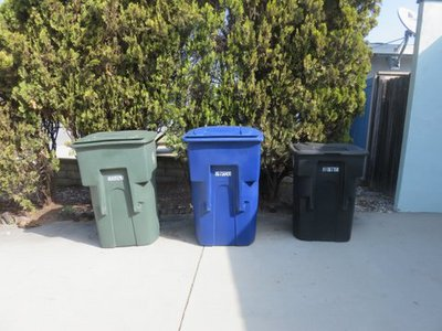 blue and green garbage bins