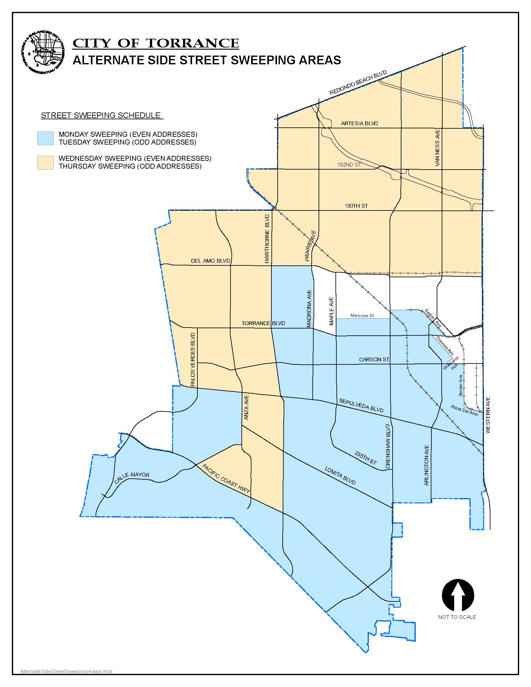 street sweeping map alternating streets. street sweeping  city of torrance