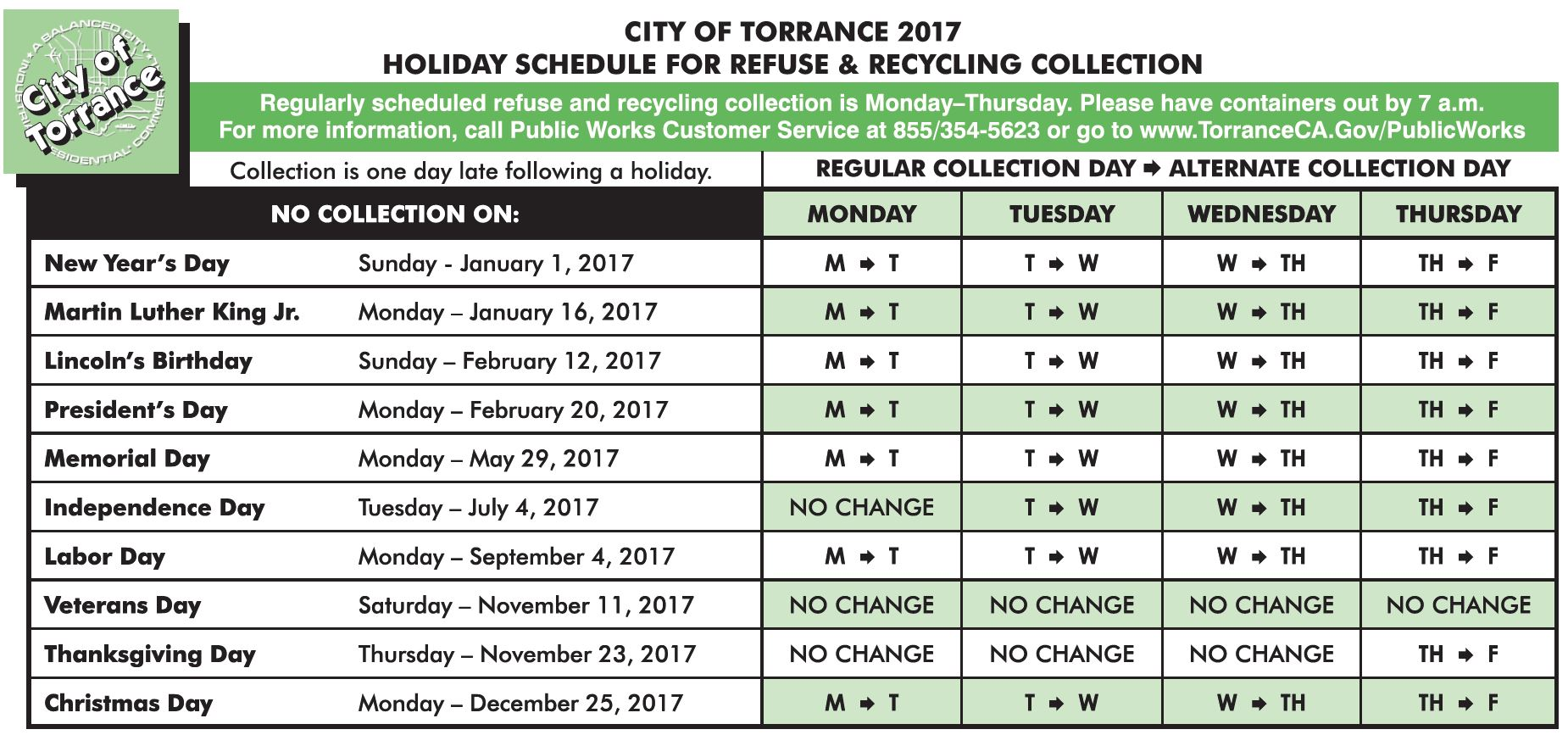 Regular and Holiday Schedule   City of Torrance