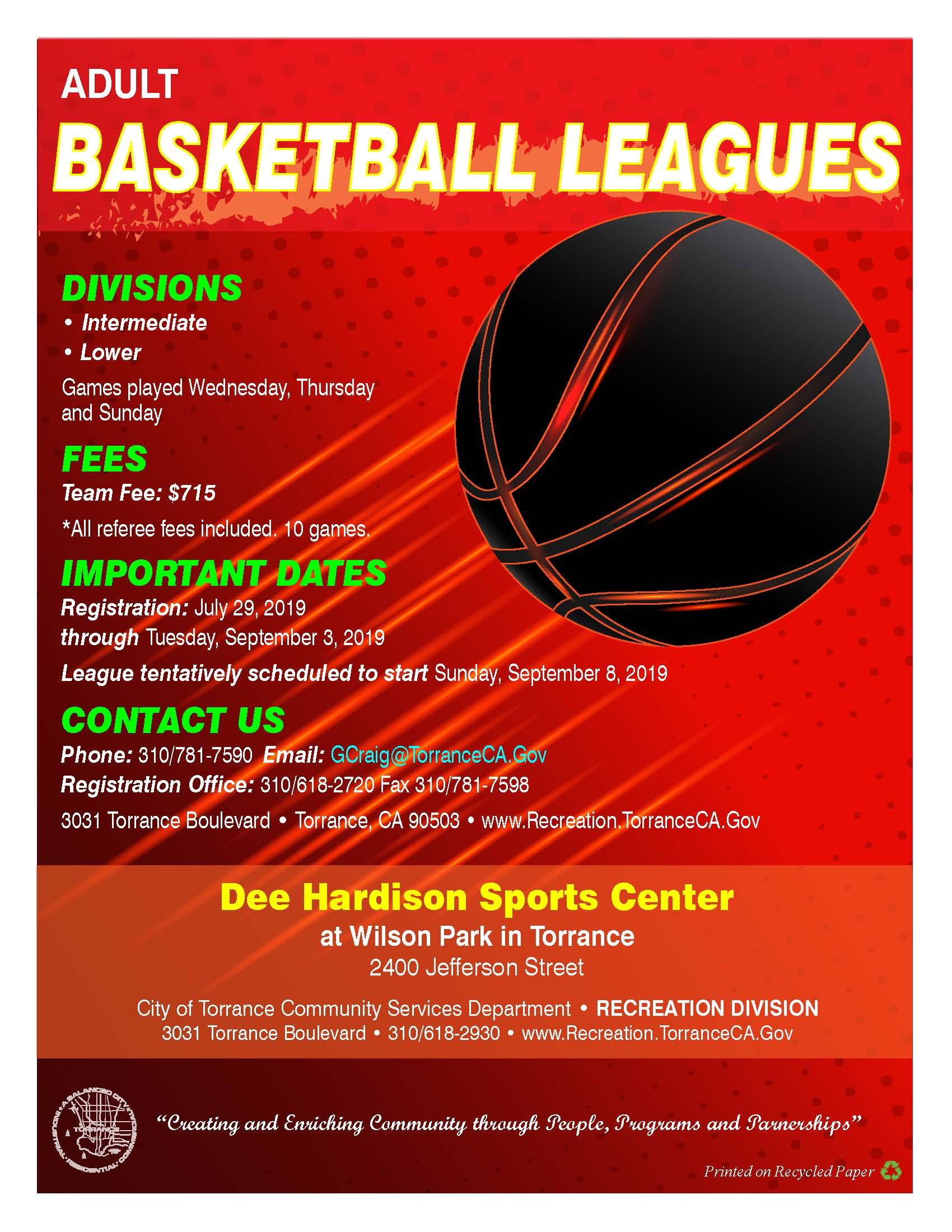FLYER - FALL - BASKETBALL LEAGUES