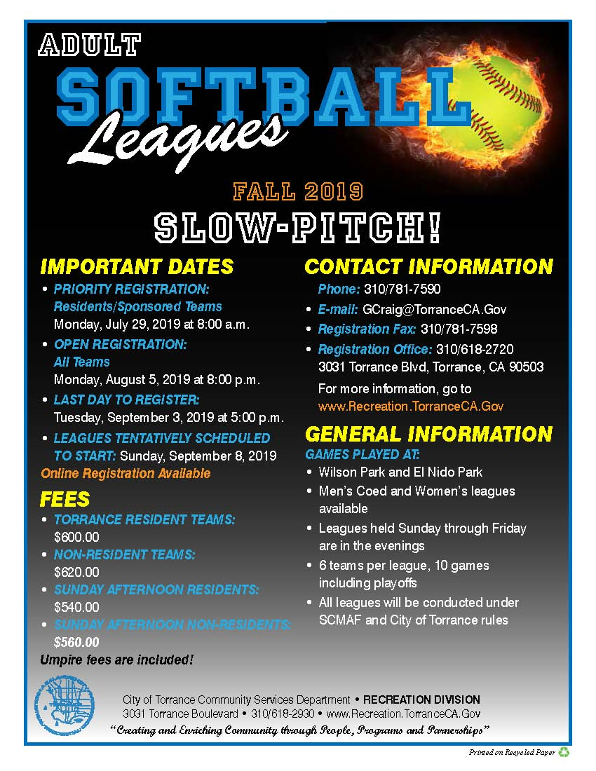FLYER - FALL - SOFTBALL LEAGUES