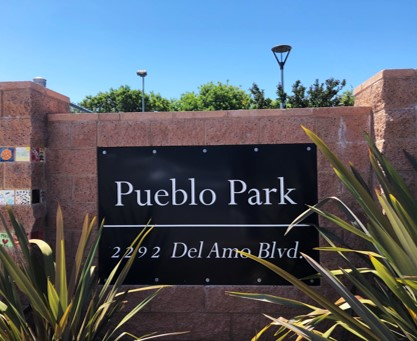 Brick Pueblo Park Sign