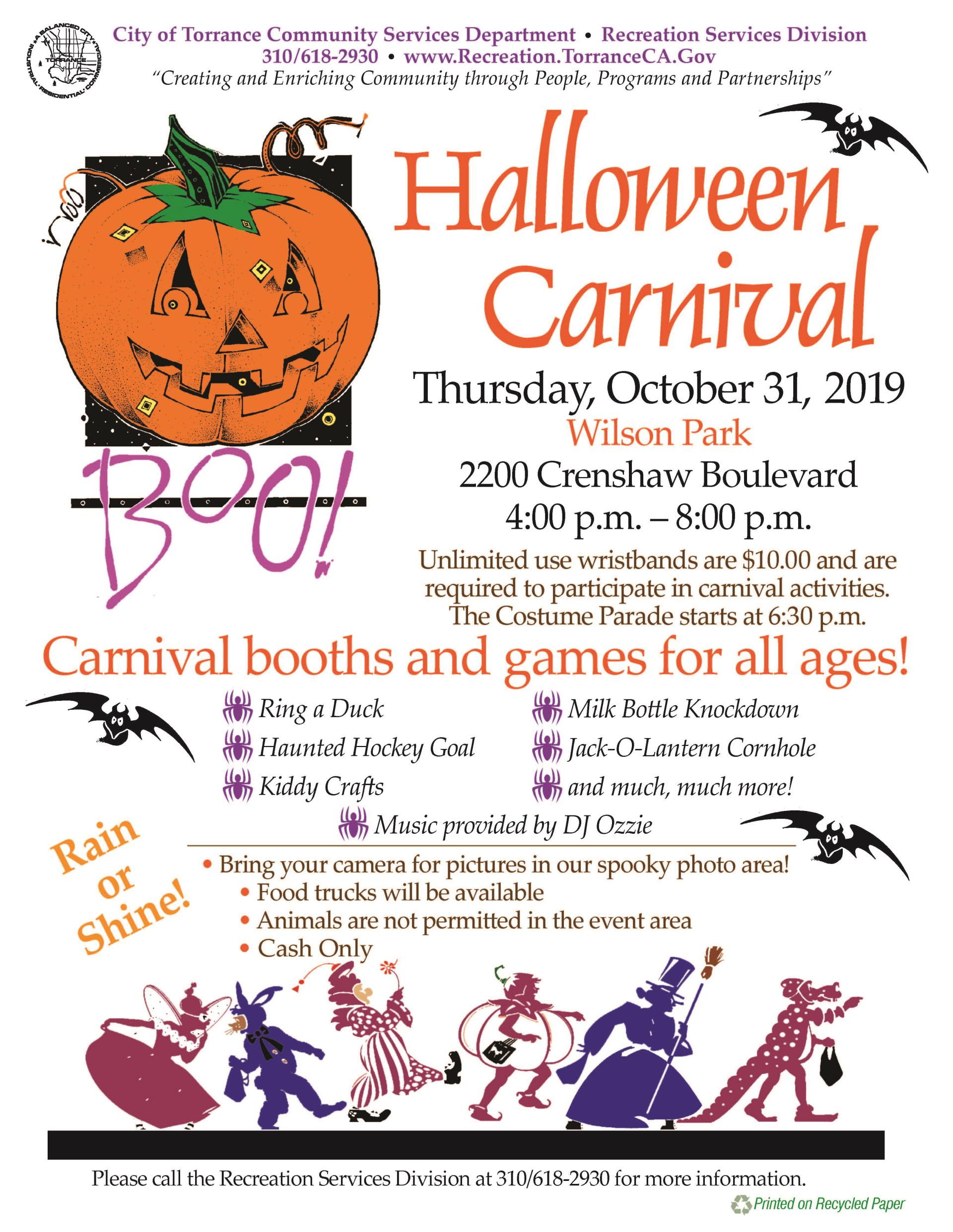 Halloween 2020 Carnival Based Halloween Carnival | City of Torrance