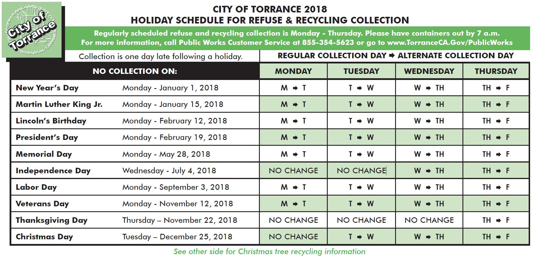 regular and holiday schedule | city of torrance
