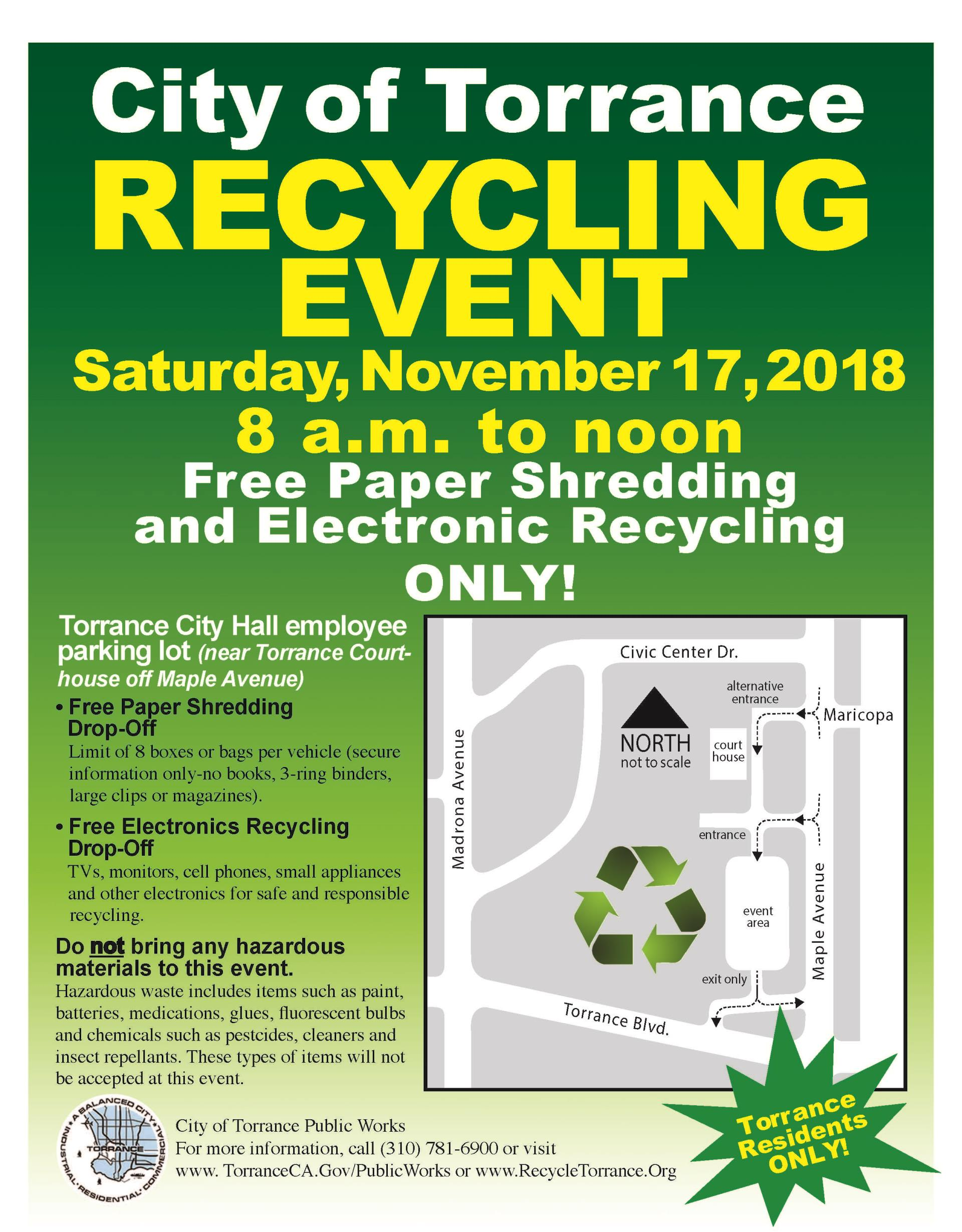 Electronic Recycling and Paper Shredding Event 2018